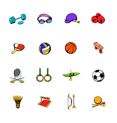 sports equipment icons set cartoon vector image