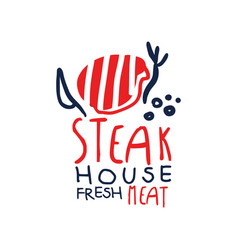Steak house freash meat logo template vintage vector