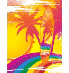 surfboard and tropical rainbow vector image