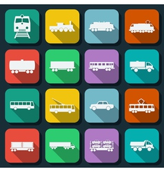 Transportation flat icons vector image vector image