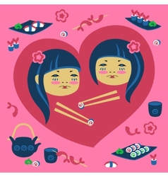 Two japanese girl vector