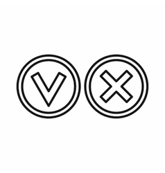 Tick and cross circle shape icon outline style vector