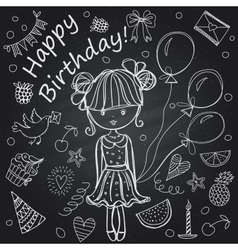 Girl birthday chalkboard vector