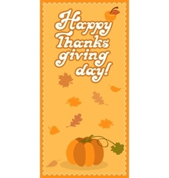 Pumpkin happy thanksgiving day card with child vector