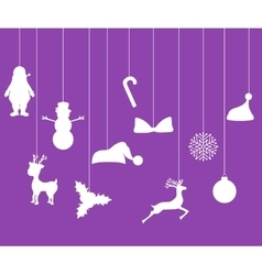 Christmas decorations of paper tape silhouette vector