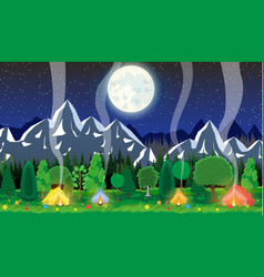 meadow with grass and camping vector image