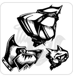 Set - aggressive dogs vector