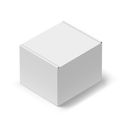 Close up white carton box with shadow on white vector