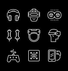 Set line icons of virtual reality vector