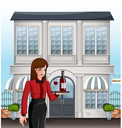 A female server in front of a building vector