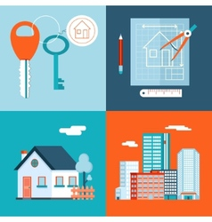 Retro real estate symbols private house vector