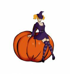 witch sitting on a pumpkin vector image