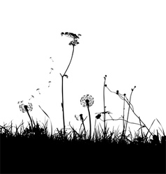 Wild weeds and flower silhouettes vector