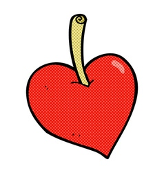 Comic cartoon love heart apple vector