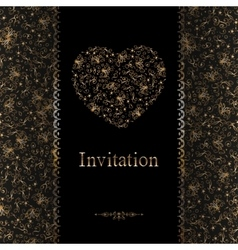 Invitation cards with golden foil heart vector