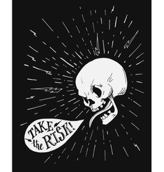 Hand drawn vintage tattoo skull with motivational vector