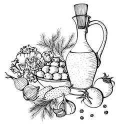 Monochrome still life with vegetables vector