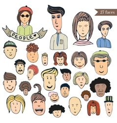 Hand drawn people crowd doodle collection of vector