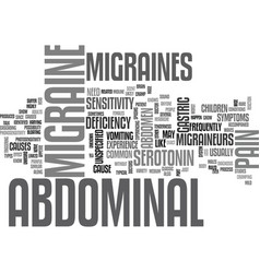 Abdominal migraines text word cloud concept vector