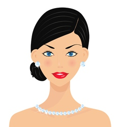 Beautiful woman with diamonds vector image