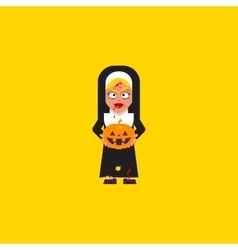 Bloody nun with pumpkin character for halloween in vector
