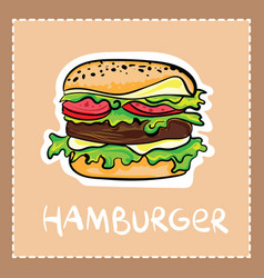 cartoon hamburger in hand drawn style with text vector image vector image