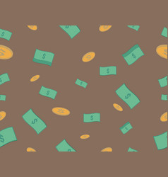 Cash and coin seamless pattern vector