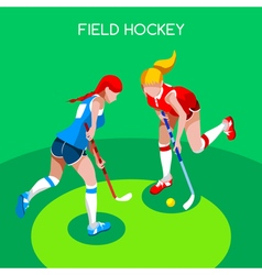 Field hockey 2016 summer games 3d isometric vector