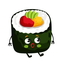 Funny sushi roll isolated cartoon character vector image