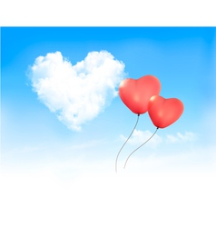 Holiday background with heart shape of cloud on vector image