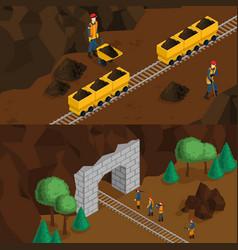 isometric miners horizontal banners vector image vector image