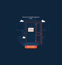 page not found error 404 door conceptthin line vector image
