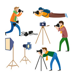 photographers at work and professional equipment vector image vector image