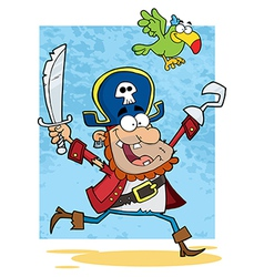 Pirate Holding Up A Sword And Hook With Parrot vector image vector image
