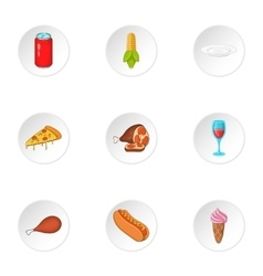 Quick snack icons set cartoon style vector