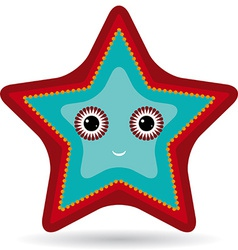 Red and blue starfish on a white background vector image