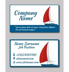 Sailing yacht Business card template vector image vector image