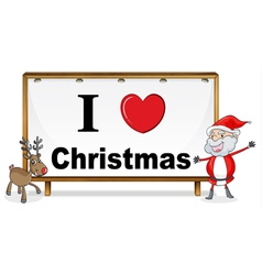santa claus reindeer and a notice board vector image