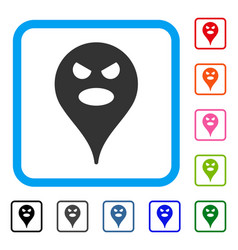 scream smiley map marker framed icon vector image