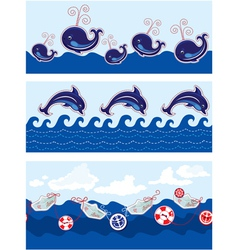 Set of Seamless sea borders with dolphins whales vector image vector image