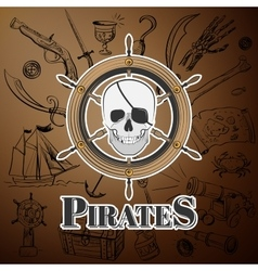 skull pirate and Hand drawn icon vector image