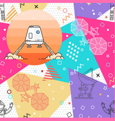 space memphis seamless pattern vector image