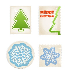 Vintage scratched post stamps woth christmas signs vector