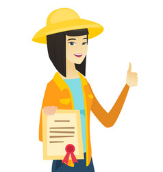 Young asian farmer holding a certificate vector