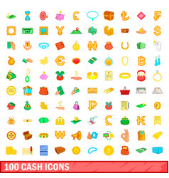 100 cash icons set cartoon style vector