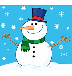 Friendly snowman in the snow vector