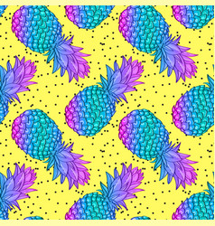 Pineapple creative trendy seamless pattern vector