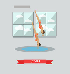 Diving concept in flat style vector