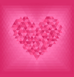 Rose triangle heart on pink and rose background vector