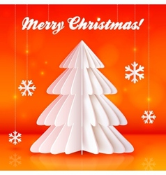 Origami paper christmas tree on orange background vector